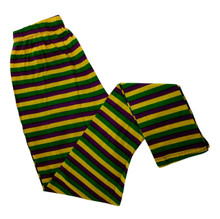 Ladies Stripe Purple Green Yellow Mardi Gras S/M Legging Soft Knit