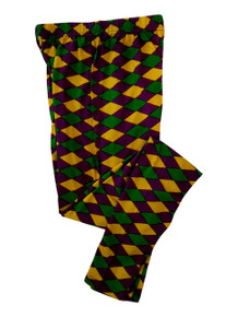 Ladies Diamond Purple Green Yellow Mardi Gras L/XL Legging Soft Knit