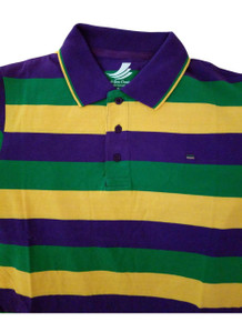 Adult Small Mardi Gras Rugby Stripe Purple Green Yellow Knit SS Shirt