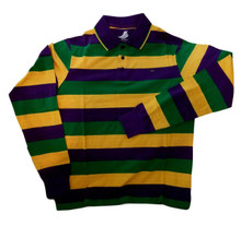 Adult Large Mardi Gras Rugby Stripe Purple Green Yellow Long Slv Shirt