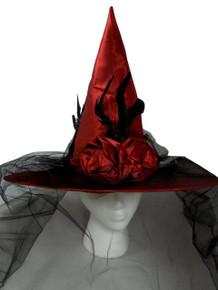 Victorian Satin Red Veil Bow Flower Halloween Witch Hat