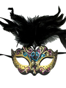 Yellow with Black Feathers Colorful Masquerade Mardi Gras Mask