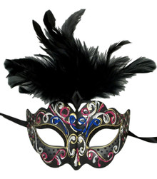 Gray with Black Feathers Colorful Masquerade Mardi Gras Mask