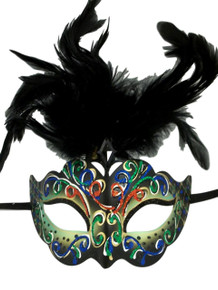 Light Green with Black Feathers Colorful Masquerade Mardi Gras Mask