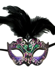 Purple with Black Feathers Colorful Masquerade Mardi Gras Mask