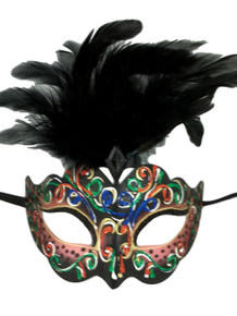 Pink with Black Feathers Colorful Masquerade Mardi Gras Mask