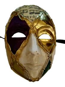 Men Full Face Purple Green Gold Scroll Mardi Gras Masquerade Mask PM