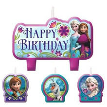 Disney Frozen 4 pc Candle Set Party Elsa Anna Olaf Happy Birthday