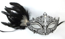 Black White Dot Side Feather Masquerade Mardi Gras Metal Crystal Crown Mask