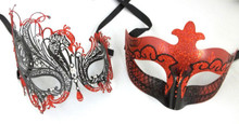 Black Red Swan Laser Venetian Mask Masquerade Metal Couples His Hers Combo Set