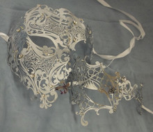 Silver Crystal Phantom Men Woman Venetian Mask Masquerade Metal Couple Masks Set