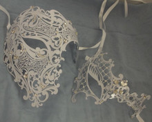 White Crystal Phantom Men Woman Venetian Mask Masquerade Metal Couple Masks Set