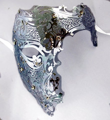 Silver Phantom Laser Cut Mask Masquerade Metal Men Skull Filigree