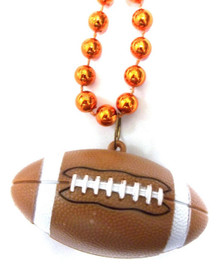 Football with Orange Mardi Gras Beads Bead Necklace