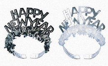 2 Black & Silver Foil Glitter Tiaras with Fringe Party New Years Eve