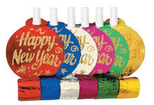 """Happy New Year"" Assorted Colors Metallic New Year 6 Blowouts Party"