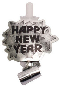 """Happy New Year"" Silver Metallic New Year 6 Blowouts Party"