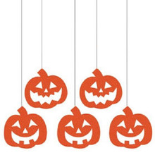 Pumpkins Hanging Glitter Cutouts 5 ct Party Dizzy Danglers