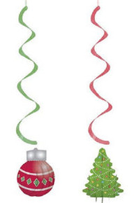 Christmas Ornament Tree 2 ct Party Dizzy Danglers Hanging