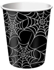 Halloween Silver Webs Black Spider Web 8 9 oz Paper Cups Party