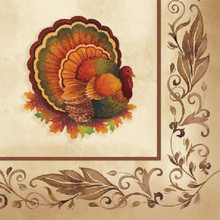 Thanksgiving Traditional Feast Turkey Beverage Napkins 16 ct Party