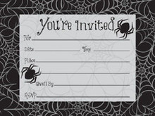 Halloween Dancing Skeletons Black Spider Webs Invitations 8 Ct Party