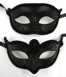 Basic Black His Hers Men Woman Venetian Mask Masquerade Couple Masks Set