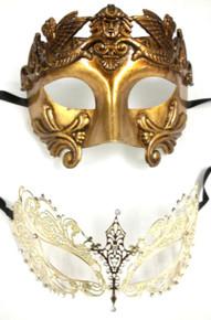 Gold Warrior Men Woman Venetian Mask Masquerade Metal Couple Masks Set