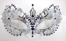 Silver Blue Crystal Beautiful Eyes Laser Venetian Mask Masquerade Metal Filigree