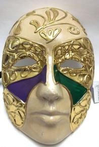 Purple Green Gold Full Face Paper Mache Mardi Gras Masquerade Mask Men Male