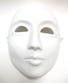 Men White Craft Unfinished Full Face Paper Mache Mardi Gras Masquerade Mask Male