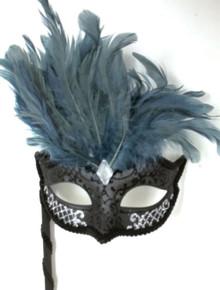 Black Steel Gray Silver Marquis Venetian Masquerade Mardi Gras Stick Mask