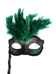 Black Emerald Green Marquis Venetian Masquerade Mardi Gras Stick Mask