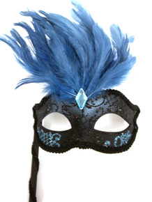Black Teal Blue Marquis Venetian Masquerade Mardi Gras Stick Mask