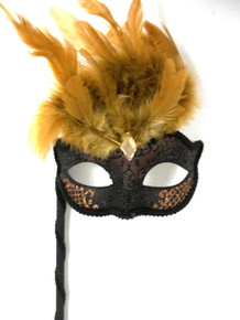 Black Golden Copper Brown Marquis Venetian Masquerade Mardi Gras Stick Mask