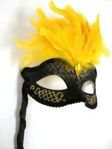 Black Yellow Marquis Venetian Masquerade Mardi Gras Stick Mask