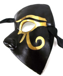 Black Pharoah Half Phantom Paper Mache Masquerade Mardi Gras Mask Mens Men