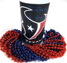 Houston Texans 22 oz Cup 12 Mardi Gras Beads Red Blue Party Favor