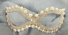Wedding Crystal Pearl Bridal Rhinestone Laser Cut Venetian Masquerade Metal Mask