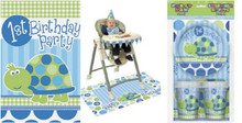 1st Birthday Turtle Blue Party Set Napkins Plates Invites Cups TC High Chair kit