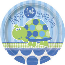 "1st Birthday Blue Turtle Party 8 Dessert Cake 7"" Plates"