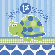 1st Birthday Blue Turtle Party 16 Lunch Napkins