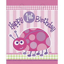 1st Birthday Ladybug Pink Party 8 ct Loot Favor Bags