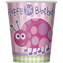 1st Birthday Ladybug Pink Party 8 ct 9 oz Hot/ Cold Paper Cups