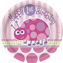 "1st Birthday Ladybug 7"" Pink Party Dessert Cake Plates 8 ct"