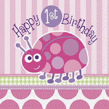 1st Birthday Ladybug Pink Party Lunch Napkins 16 ct