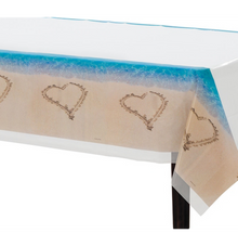 Beach Love Table Cover Wedding Bridal Shower Luau Party Tablecloth