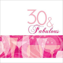 30 & Fabulous 30th Pink Cocktail Birthday Party Lunch Napkins 16 ct