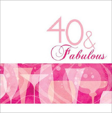 40 & Fabulous 40th Pink Cocktail Birthday Party Lunch Napkins 16 ct