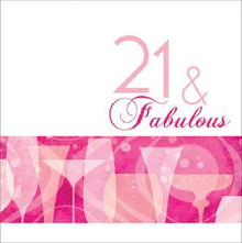 21 & Fabulous 21st Pink Cocktail Birthday Party Lunch Napkins 16 ct
